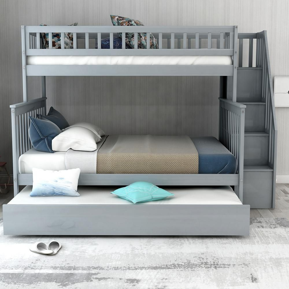 Harper Bright Designs Gray Twin Over Full Bunk Bed With Trundle And Stairs For Kids Sm000095aae 1 The Home Depot Bunk Bed With Trundle Bed For Girls Room Twin Over Full Full over full bunk beds with trundle and stairs