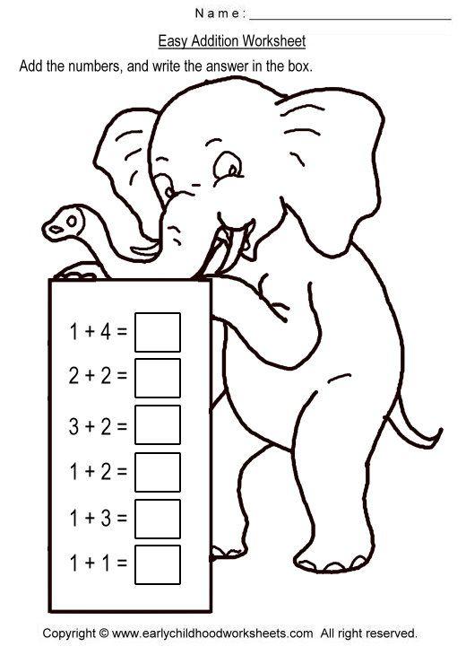 math worksheet : simple addition worksheets  easy addition worksheets  kinder  : Easy Math Addition Worksheets