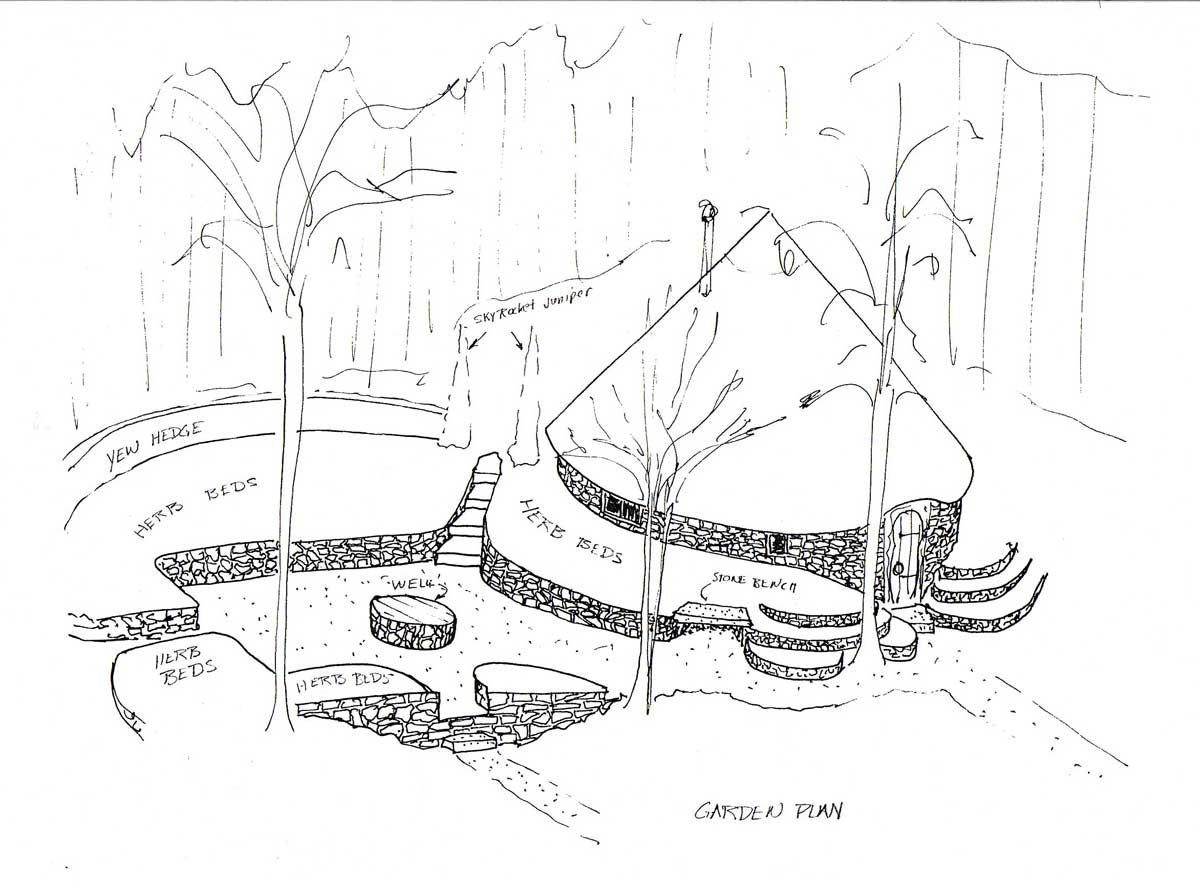drawing of celtic roundhouse