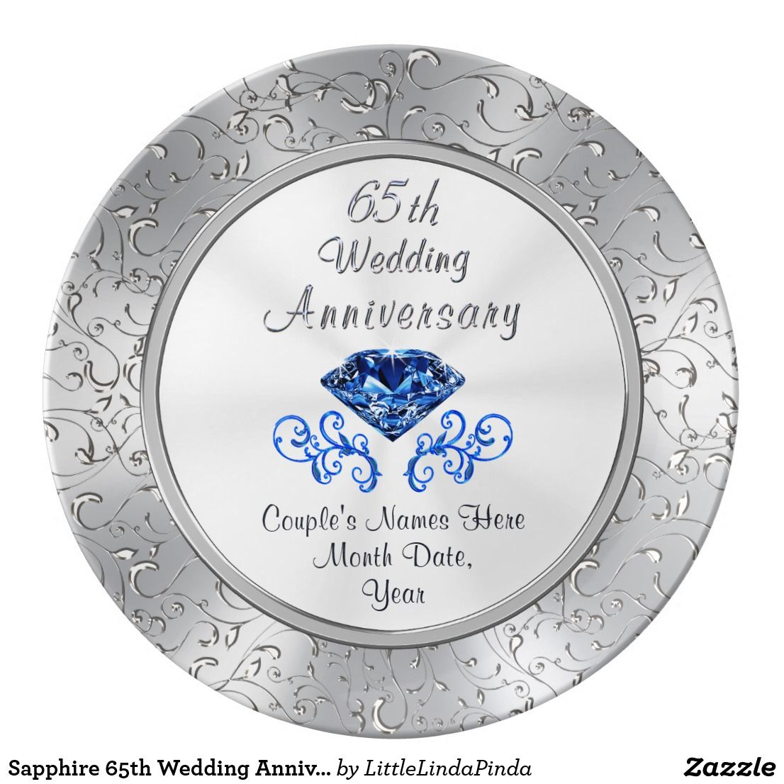 Sapphire 65th Wedding Anniversary Gift Personalize Dinner