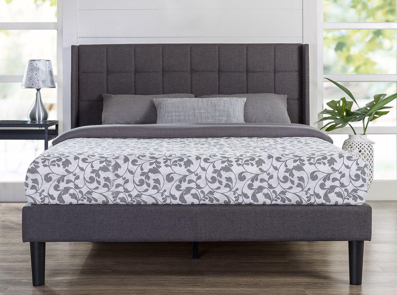Upholstered Square Stitched Wingback Platform Bed