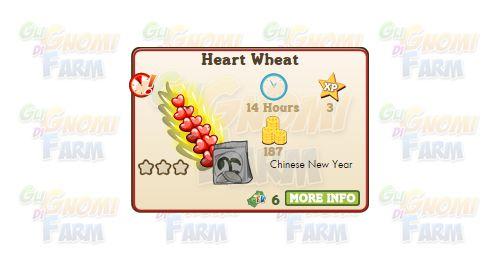Nuova coltivazione a Ed. Limitata disponibile nel Market fino al 29/03/2016: Heart Wheat  Nuova coltivazione a Edizione Limitata disponibile nel Market nel Market dal 29/01/2016 fino al 29/03/2016  Heart Wheat  Livello minimo: 5  Matura in: 14 ore  Costa: 60 Coins  Fa guadagnare 3 XP  Rende: 187 Coins  Mastery: 600 / 600 / 600 (tot. 1.800)  Per piantare Heart Wheat è necessario acquistare una licenza da 6 FV Cash!