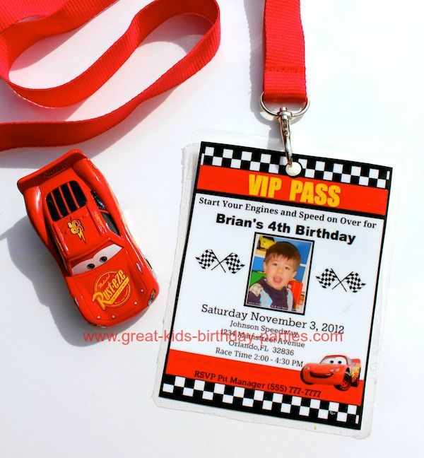 Disney Cars Birthday Party DIY VIP Pass Cars Invitation – Printable Cars Birthday Invitations