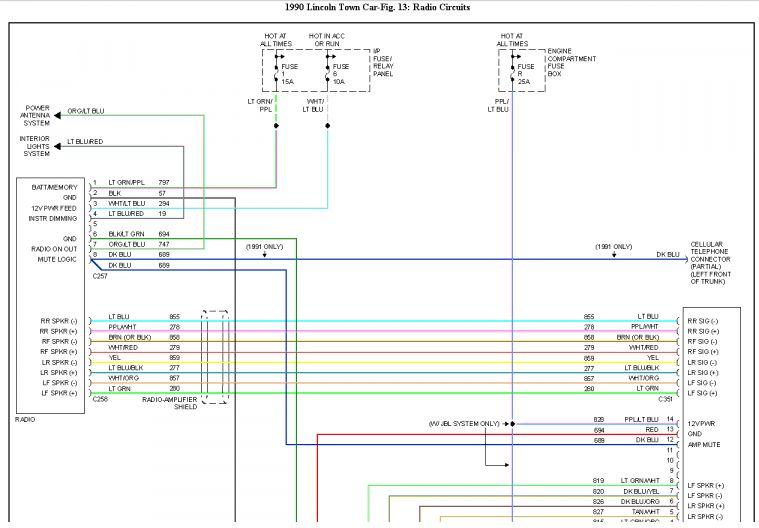 17 93 lincoln town car radio wiring diagram  lincoln town