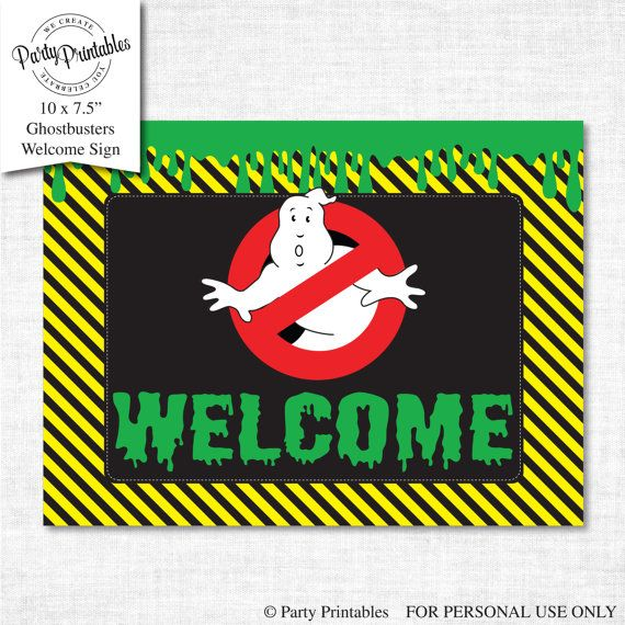 graphic regarding Ghostbusters Printable called Ghostbusters Social gathering Welcome Indicator, Welcome Signal printable