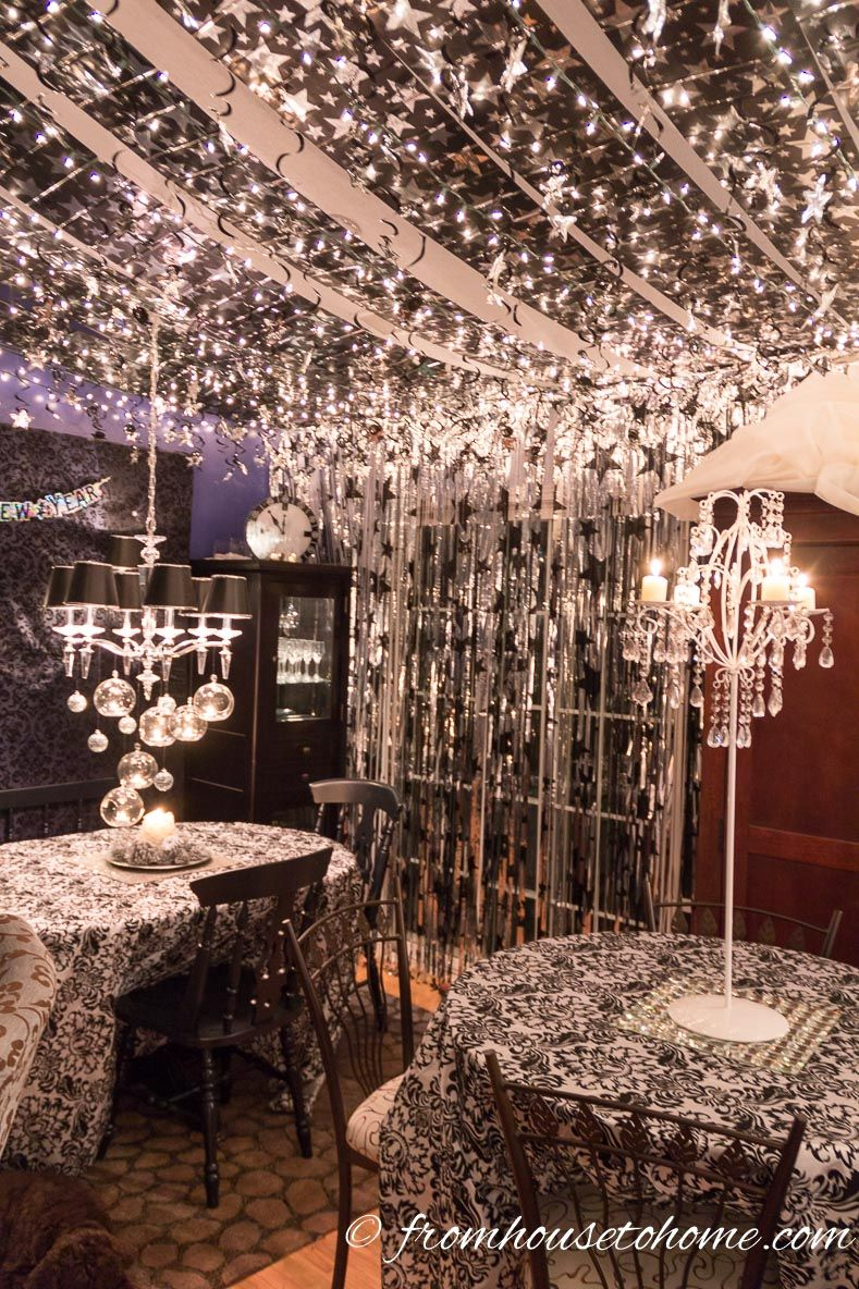Easy Last Minute New Year S Eve Party Decorations Ideas Entertaining Diva From House To Home New Years Eve Decorations Party Table Decorations Nye Party Decorations