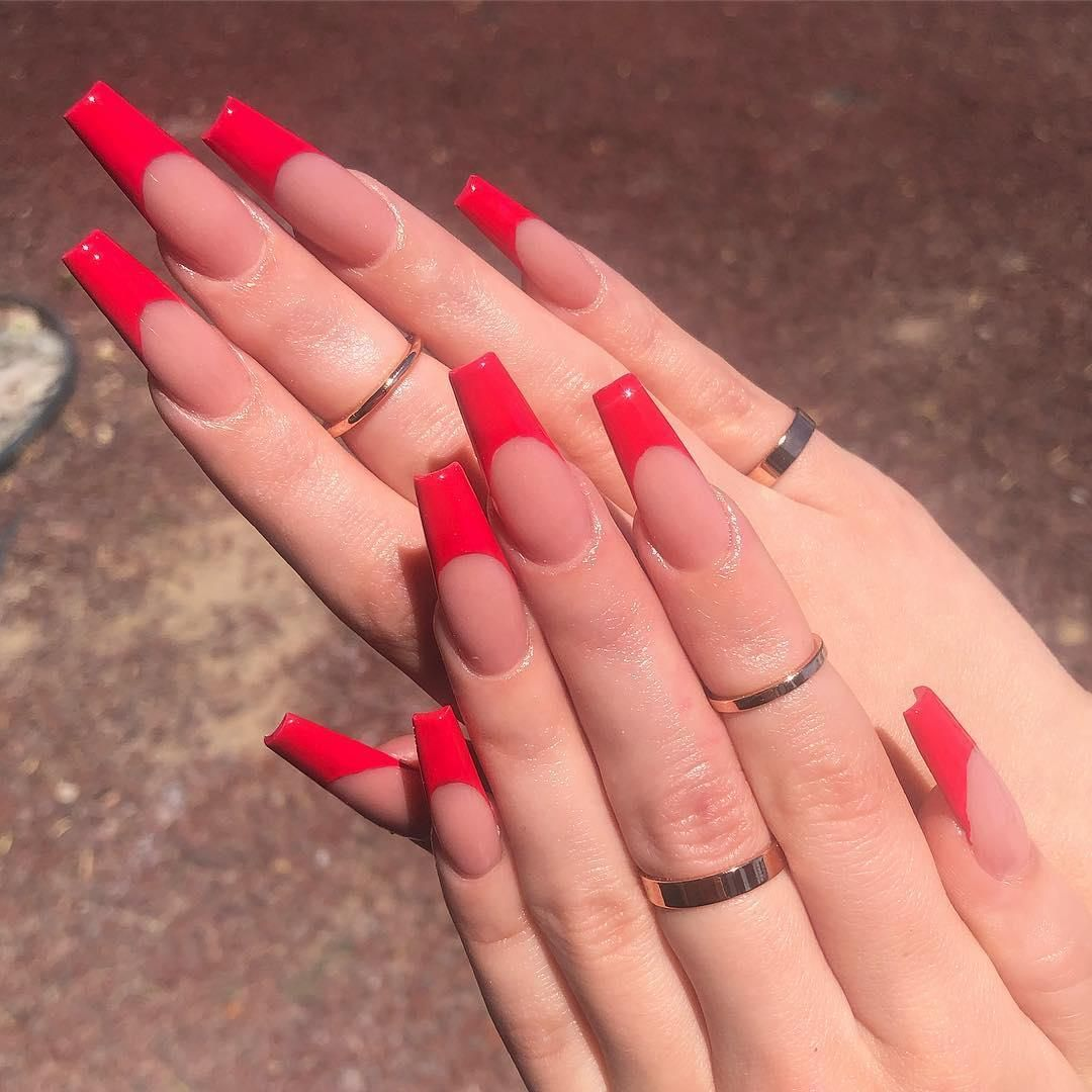 52 Gorgeous Coffin French Tip Nail Designs French Tip Acrylic Nails French Tip Nail Designs Red Tip Nails