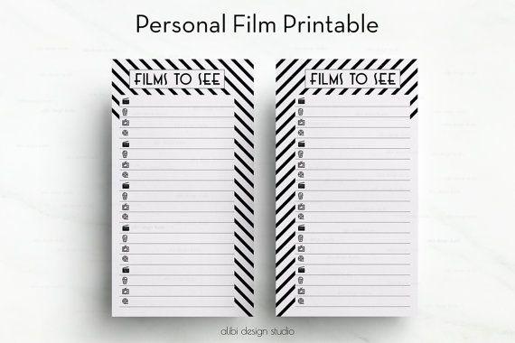Personal Film List Printable Movie Watch by AlibiDesignStudio
