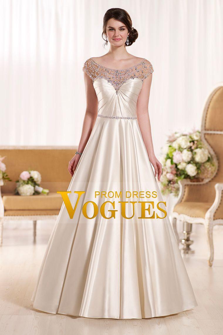 bateau a line wedding dresses stretch satin with ruffles and