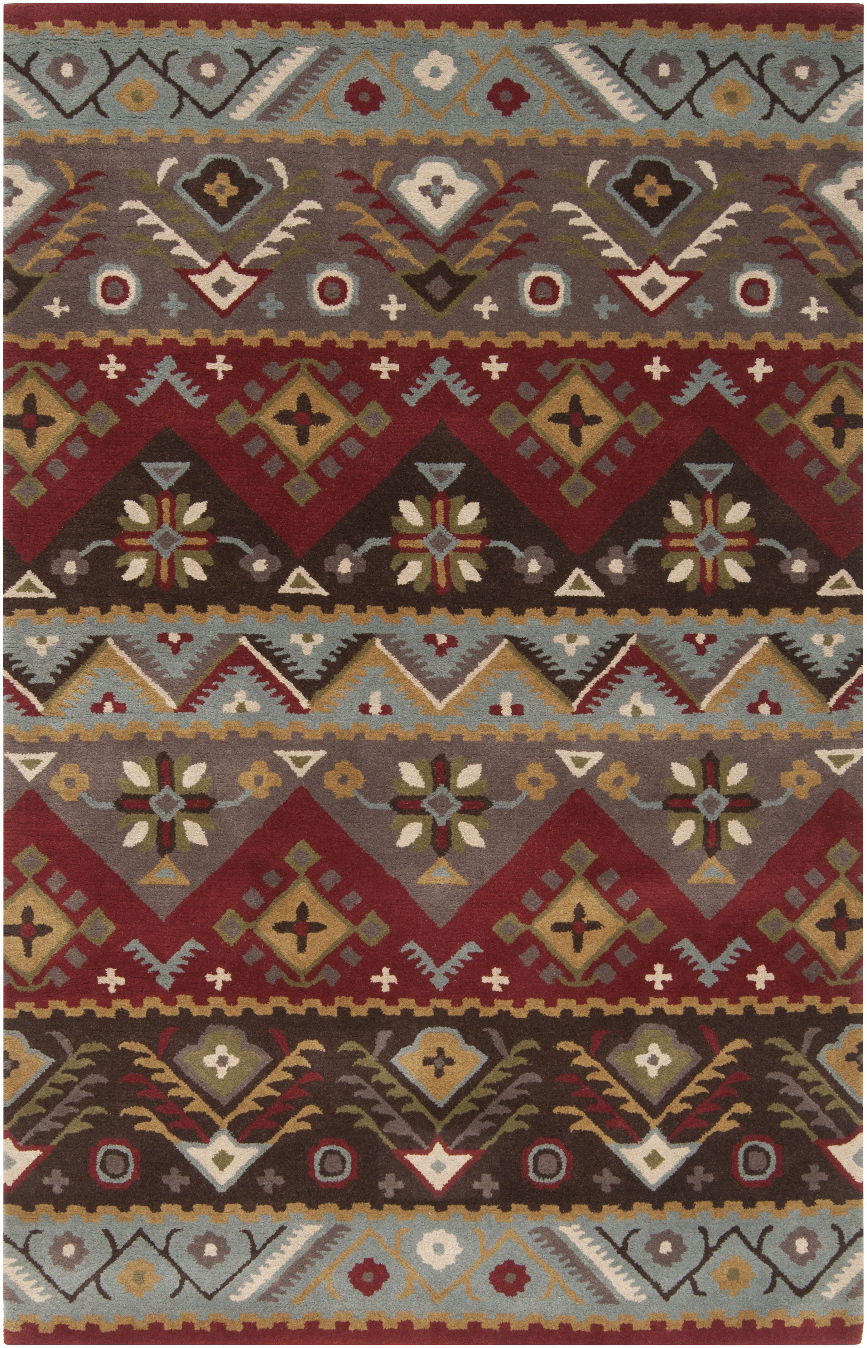 Oralia Southwestern Handmade Tufted Wool Red Gray Yellow Area Rug Area Rugs Hand Tufted Rugs Rugs