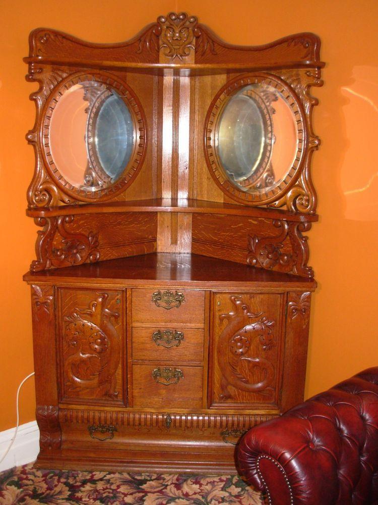 ANTIQUE AMERICAN CORNER CABINET CUPBOARD HUTCH HAND CARVED OAK In Antiques,  Furniture, Cabinets U0026