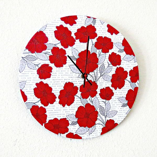 Sale Items Unique Wall Clock, Red Poppies, Bathroom Clock, Red And.