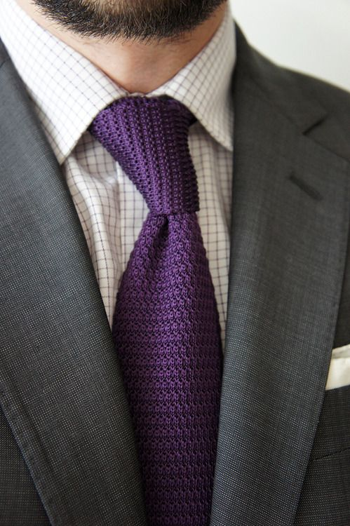 Grey Suit White Shirt With Black Check Purple Knit Tie