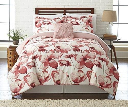 Rose pink color floral comforter set queen sheet milk white shabby rose pink color floral comforter set queen sheet milk white shabby chic french country hippie boho mightylinksfo