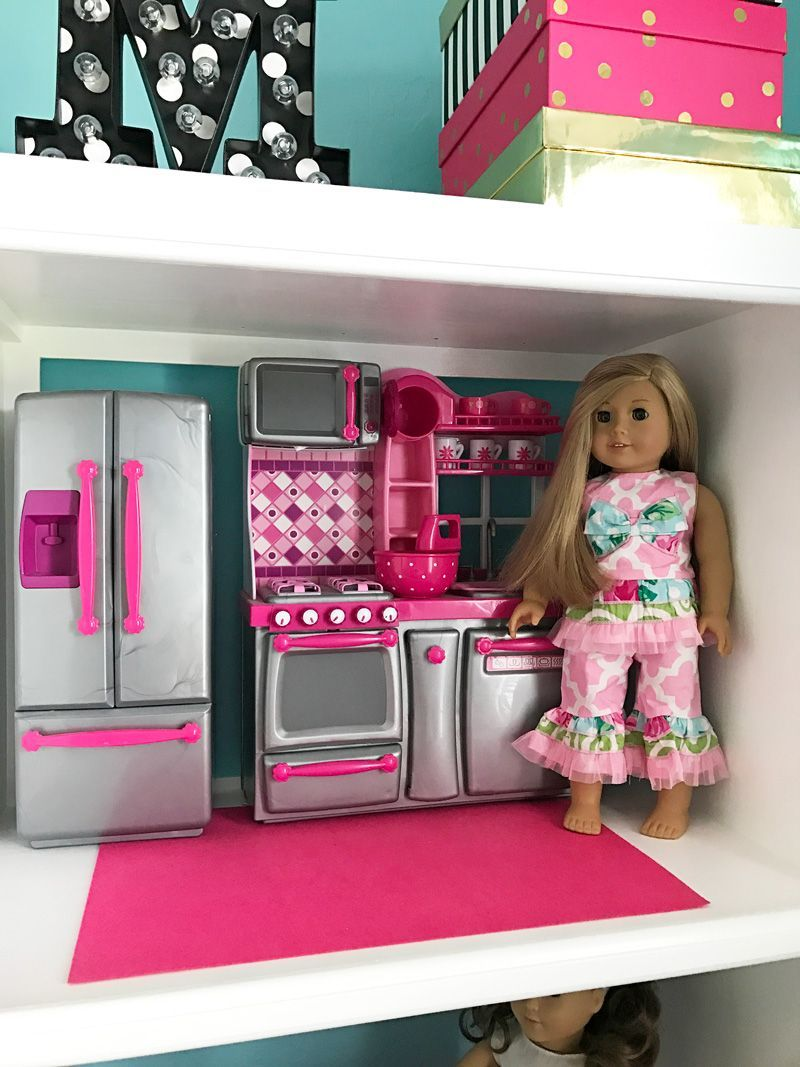 How To Make An American Girl Doll House With A Kitchen And Rooms For Easy  Storage