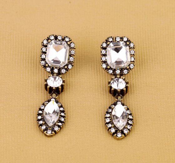 Triple Crystal Drops Statement Earrings