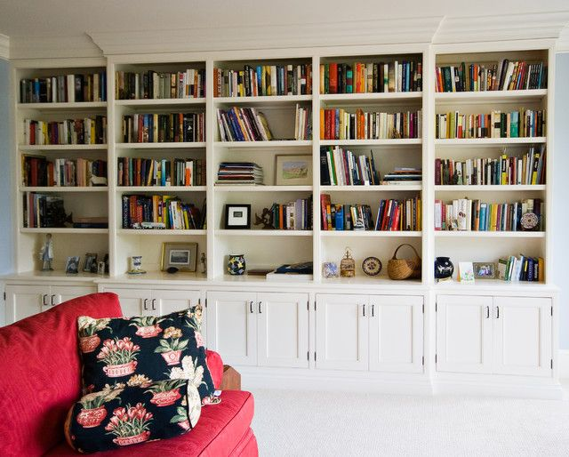 Full Wall Bookcases Storage Traditional Home Office Wall