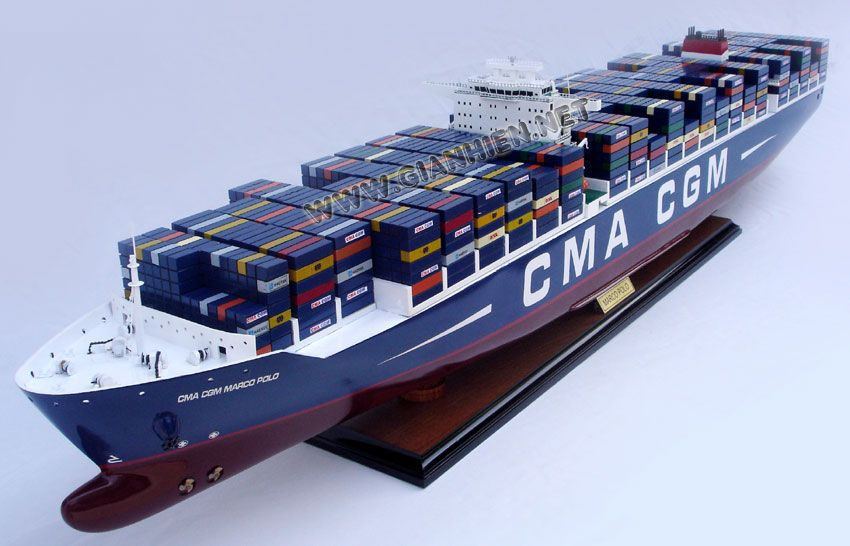Wooden Container Ship Model CMA CGM Marco Polo | Cargo Ship Models