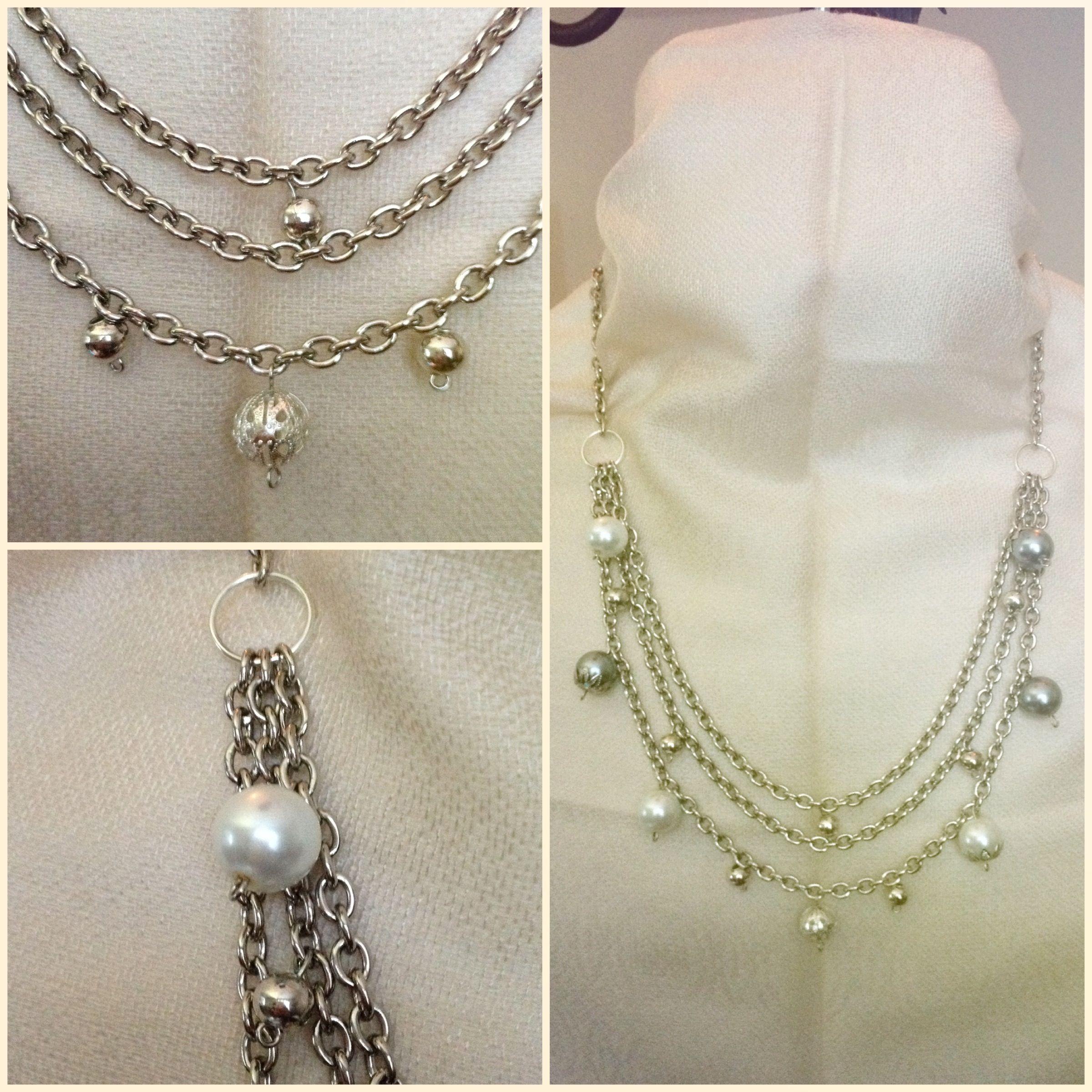 1fe9282093e4 Collar Lluvia  Juego de tres cadenas metálicas