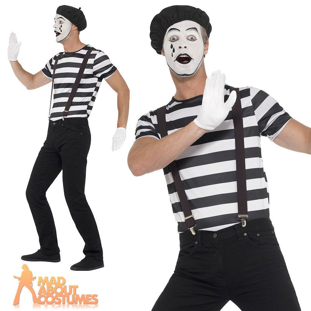 Adult Gentleman Mime Artist Costume Mens Circus French Fancy Dress Outfit New Circus Outfits Fancy Dress Outfits French Fancy Dress
