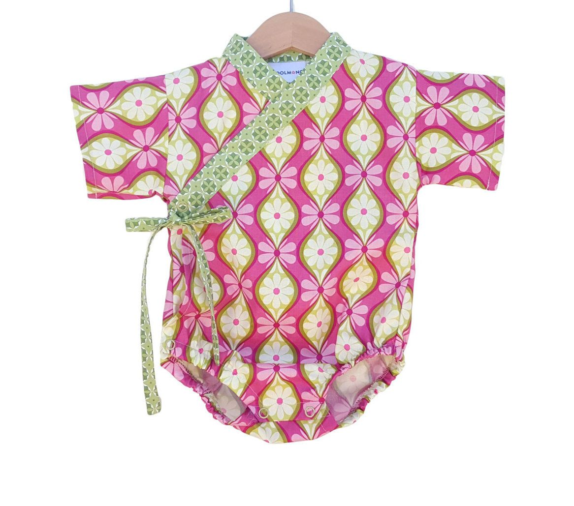 Baby Kimono Bodysuit Pinky Verde Baby Outfit Cool Baby Clothes