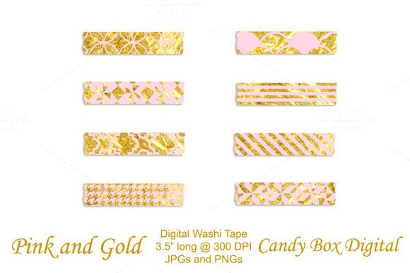 Check out Trendy Pink and Gold Digital Washi Tape by Candy Box Digital on Creative Market. Great for digital scrapbooks, journals and digital photobooks.