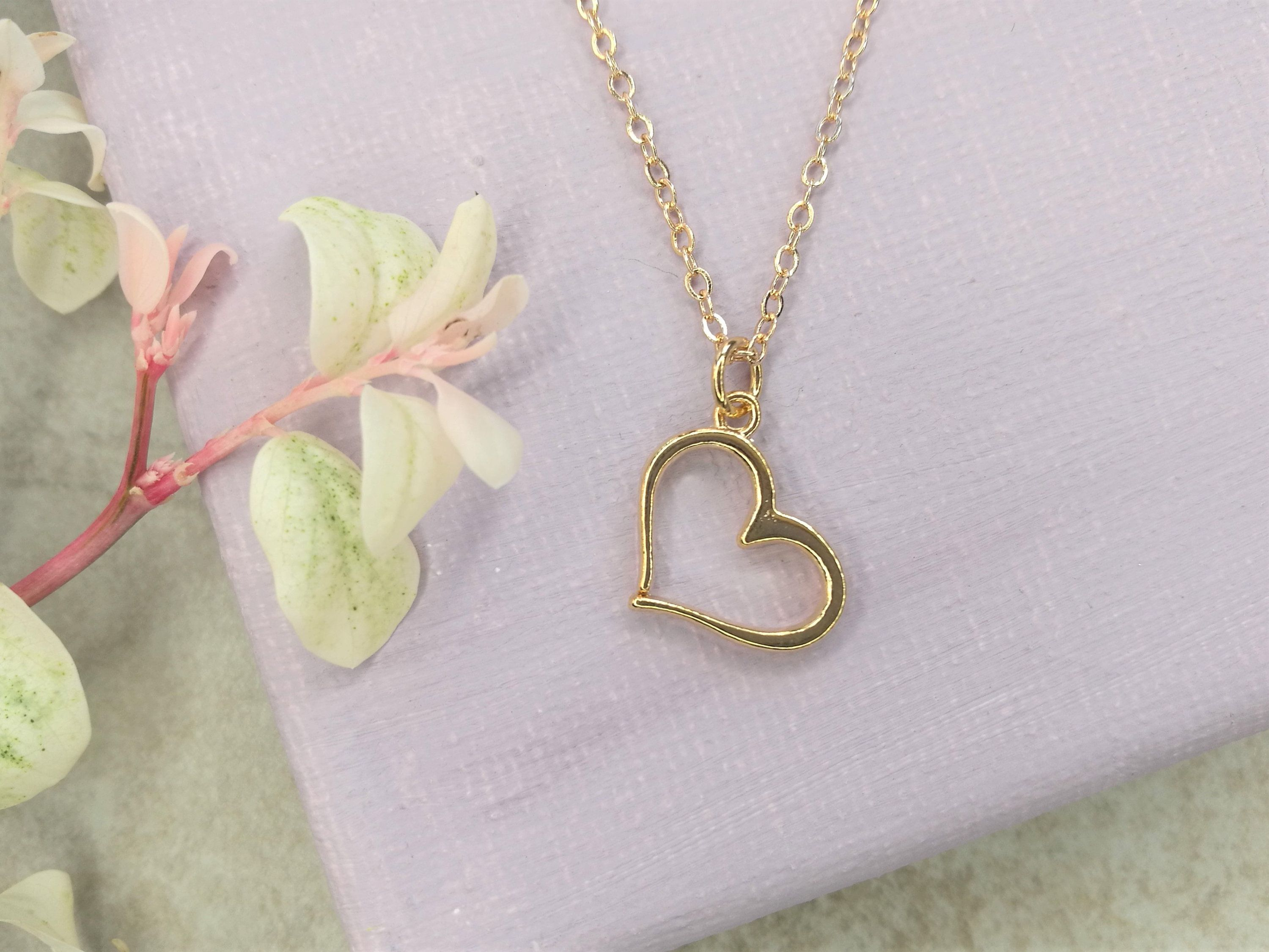 Photo of Gold heart pendant necklace. Heart pendant necklace. Everyday simple necklace. Delicate delicate jewelry. Sisters heart necklace. Friends gift.