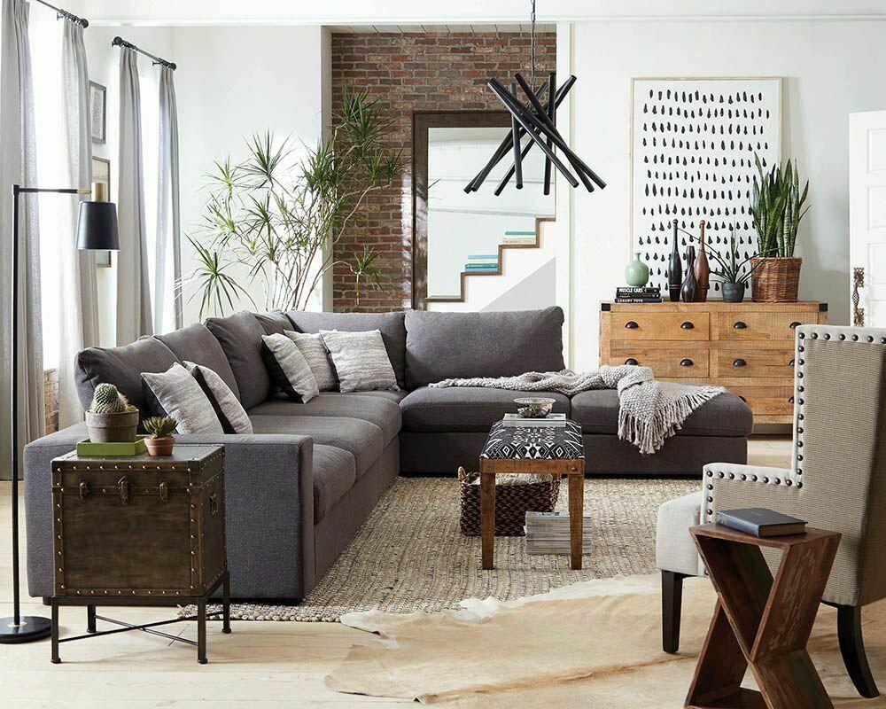Linen Blend Charcoal Grey Modular Sofa Sectional Living Room Furniture Set Grey Sofas Ideas O Living Room Sets Furniture Sectional Patio Furniture Sofa Set