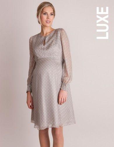 Champagne Silk Chiffon Polka Dot Maternity Dress