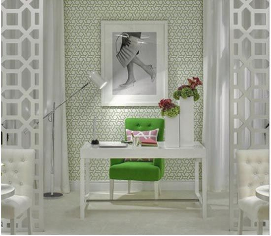 home office. love the green and white. from homeinharmonia.co...