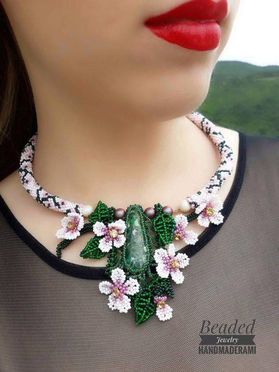 Collana perline, fiori perline, collane cerimonia perle ...
