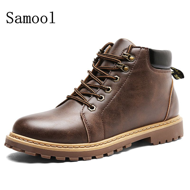 13638b760b6f   14% Off   2017 Autumn Winter British Style Vintage Men Boots Top Quality  Leather Men s Classic Martin Boots Waterproof Ankle Boots Shoes