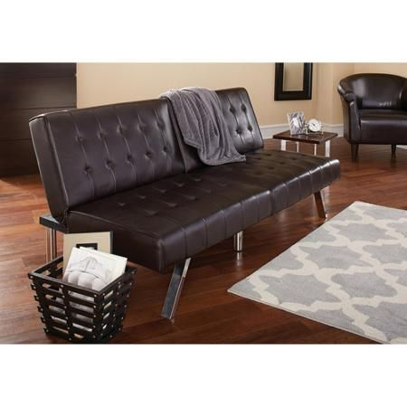 Pleasant Mainstays Faux Leather Tufted Convertible Futon Brown Ncnpc Chair Design For Home Ncnpcorg