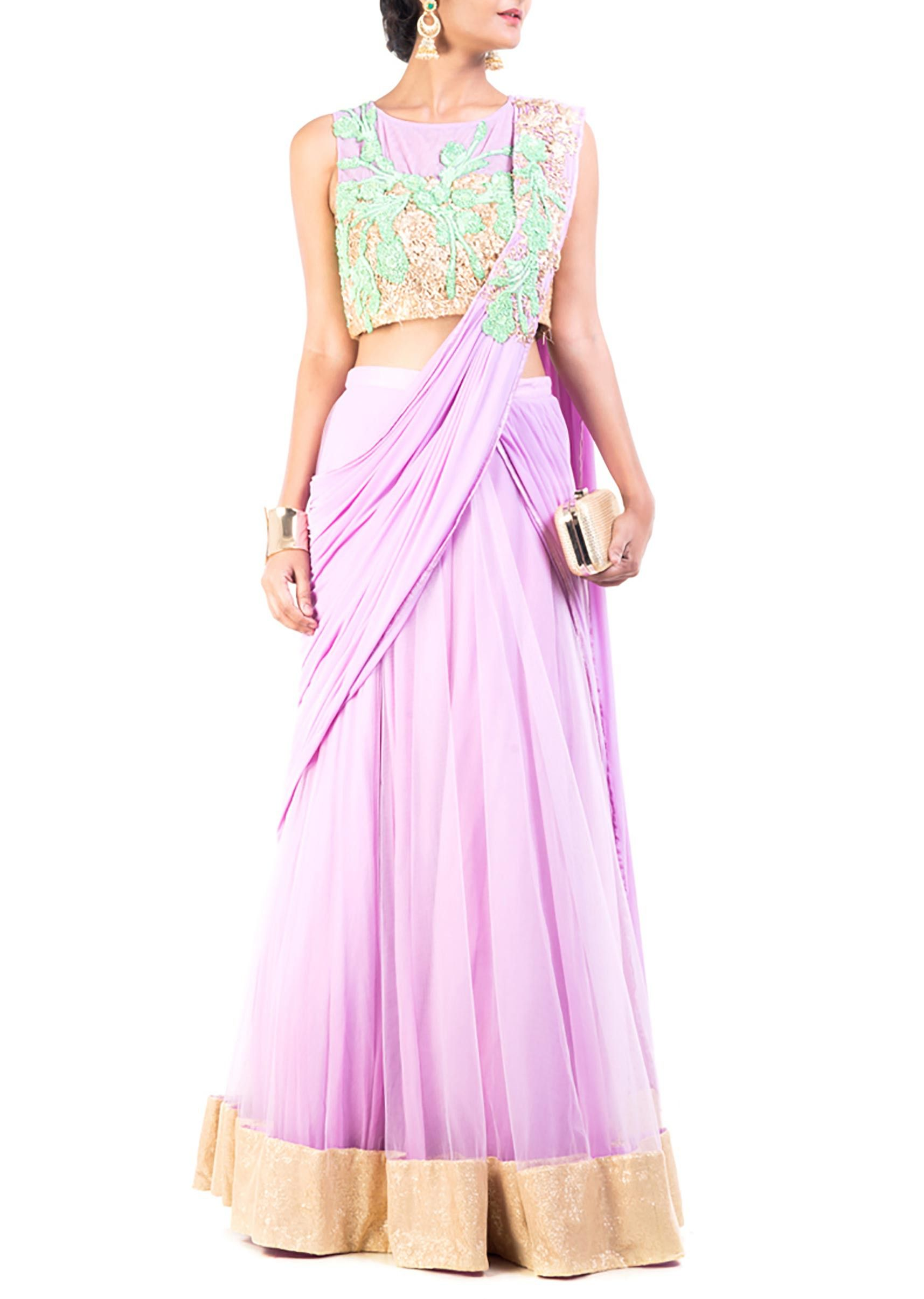 Purple crop top lehenga set | Weddings | Pinterest