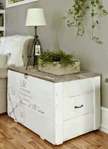 Ba l madera pintado decoraci n casa pinterest baul - Como decorar un baul de madera ...