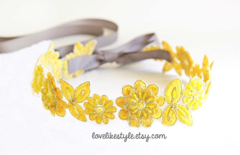 Yellow Beaded Lace Sash Yellow Lace Headband   by lovelikestyle, $27.00