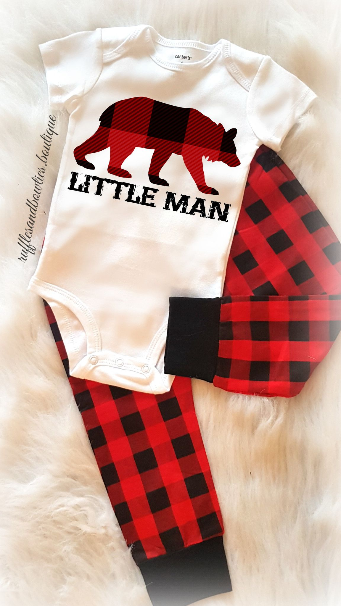 Baby Boy Little Man Buffalo Print Plaid Bear Christmas ...