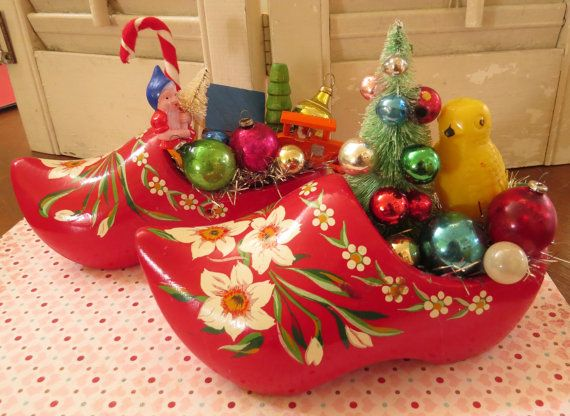 Vintage Cute Pair Of Painted Wooden Shoes With Vintage Christmas