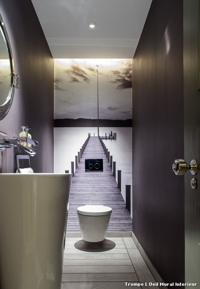 Trompe L Oeil Mural Interieur With Contemporain Toilettes Bathroom Wallpaper Modern Small Toilet Room Small Bathroom Vanities