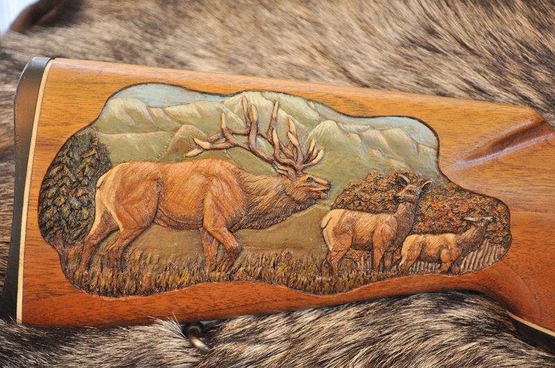 Elk carving on gunstock wood pinterest