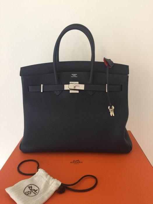 Catawiki online auction house  Hermès - Birkin 35 Togo Blue Nuit verso  Poppy - As new, year 2017 cfbe1c85510