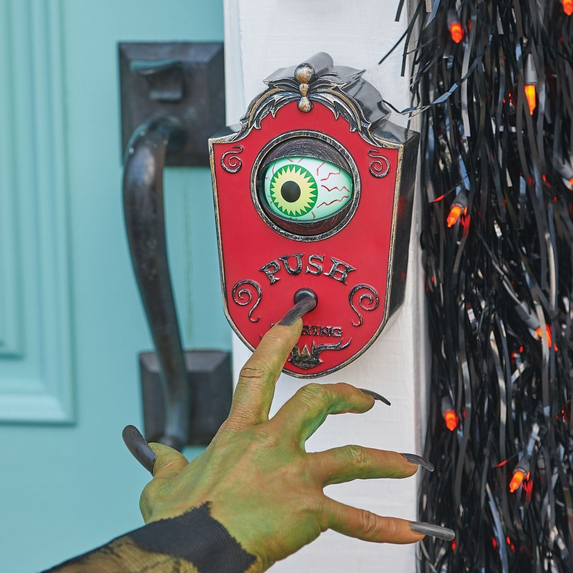 An eye-opening door prop that is sure to spook guests and trick-or-treaters!