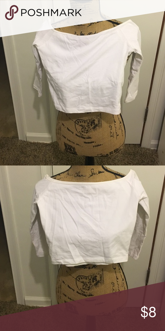 White hollister crop top Never worn. See through though. Very cute. Open to offers😊 Hollister Tops Crop Tops
