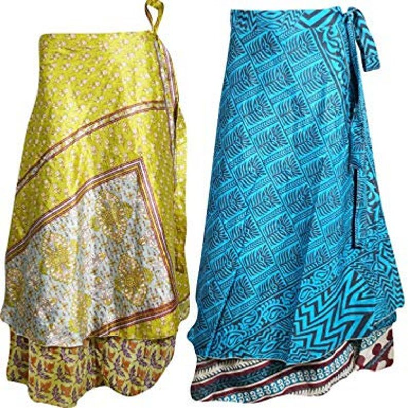 60 Indian Vintage Silk Sari Long Skirt Women Wrap Bohemian Skirt Gypsy Hippie Boho Double Layer Recycled Wrap Skirt