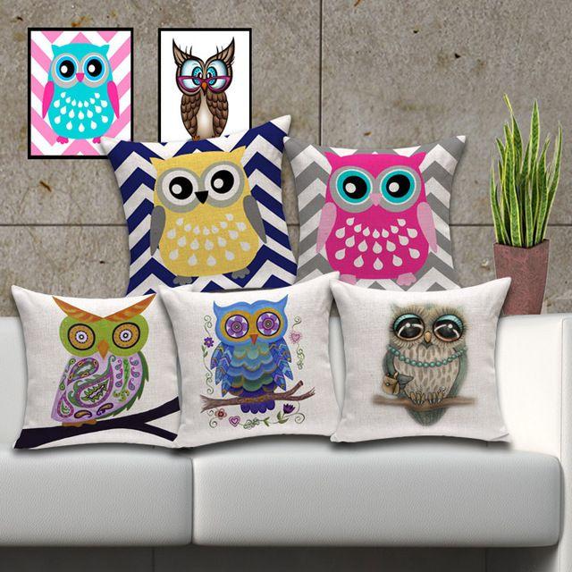 Almofadas de algodão grandes olhos coruja almofada travesseiro decoração almofada 45 x 45 cm
