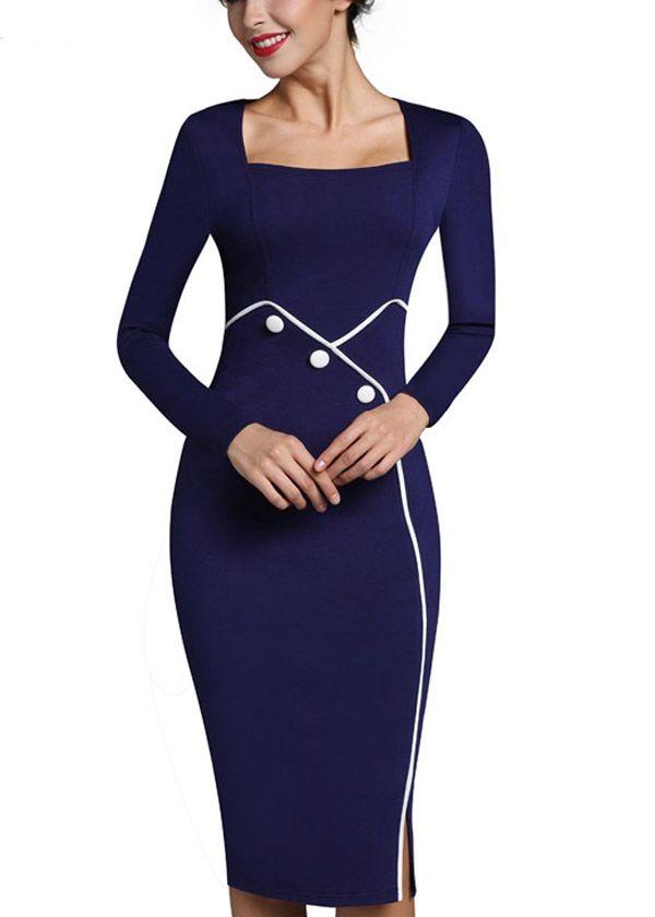 Compre Vestido Midi Tubinho Decote Quadrado Para Trabalhar  20b0001b5c39