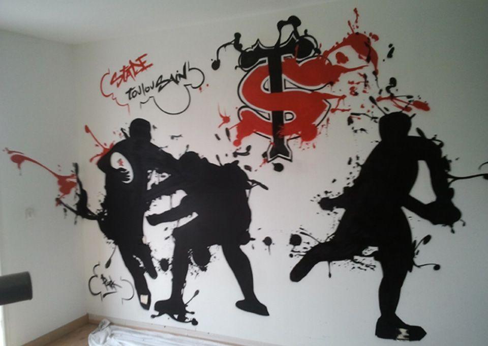 Décoration chambre graff sur le thème du Stade Toulousain, pour un - stickers chambre bebe garcon pas cher