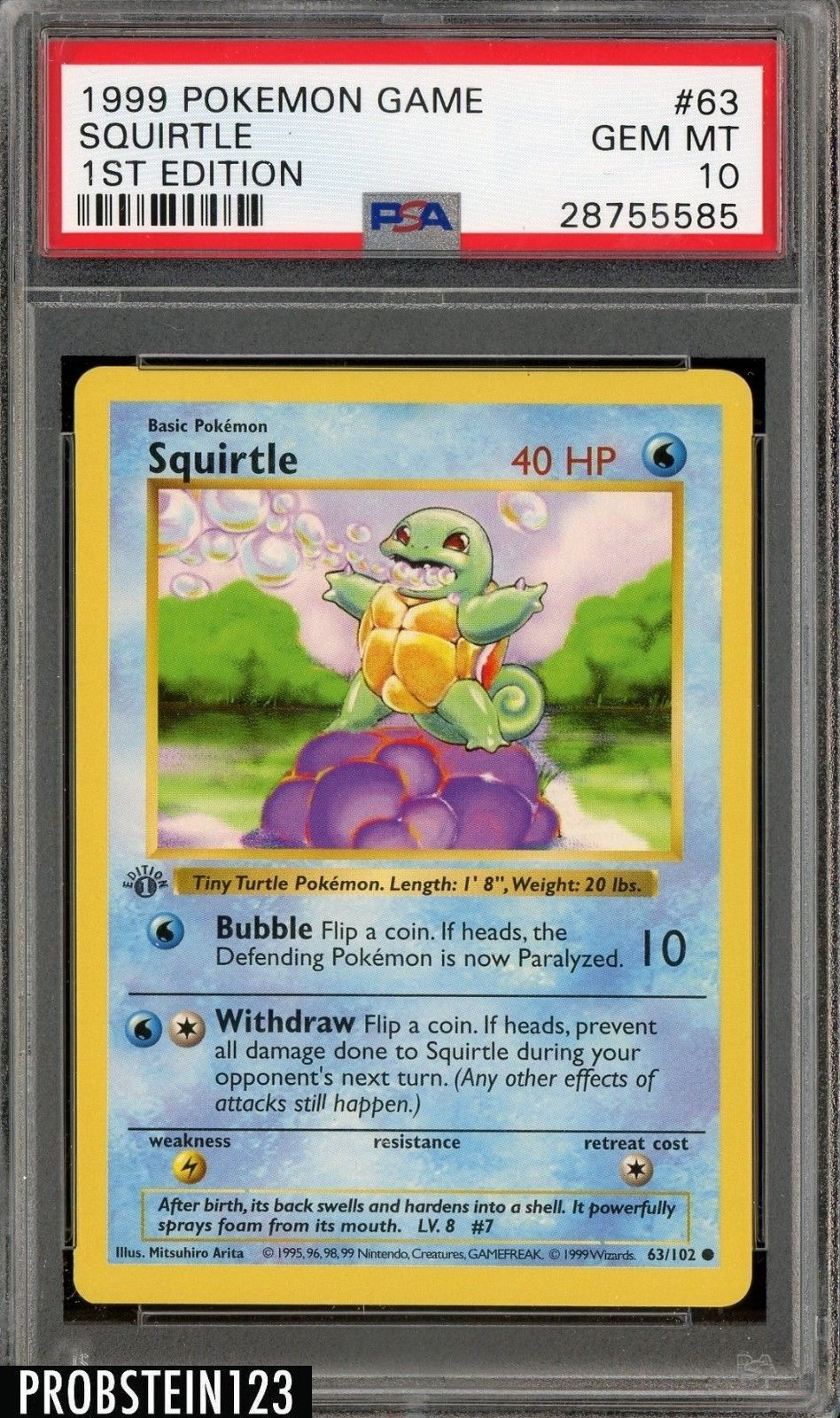 1999 pokemon game 1st edition 63 squirtle psa 10 gem mint
