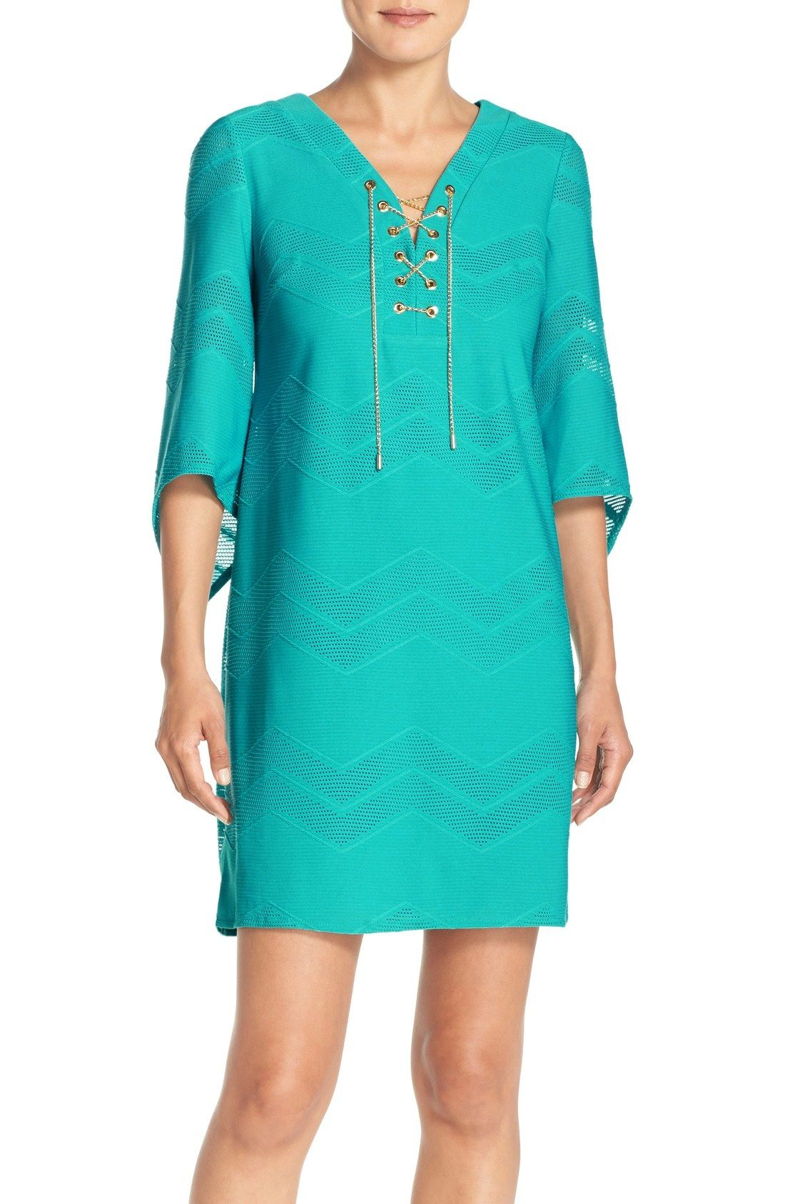 Nordstrom dresses wedding guest  London Times LaceUp Neck Mesh Shift Dress available at Nordstrom