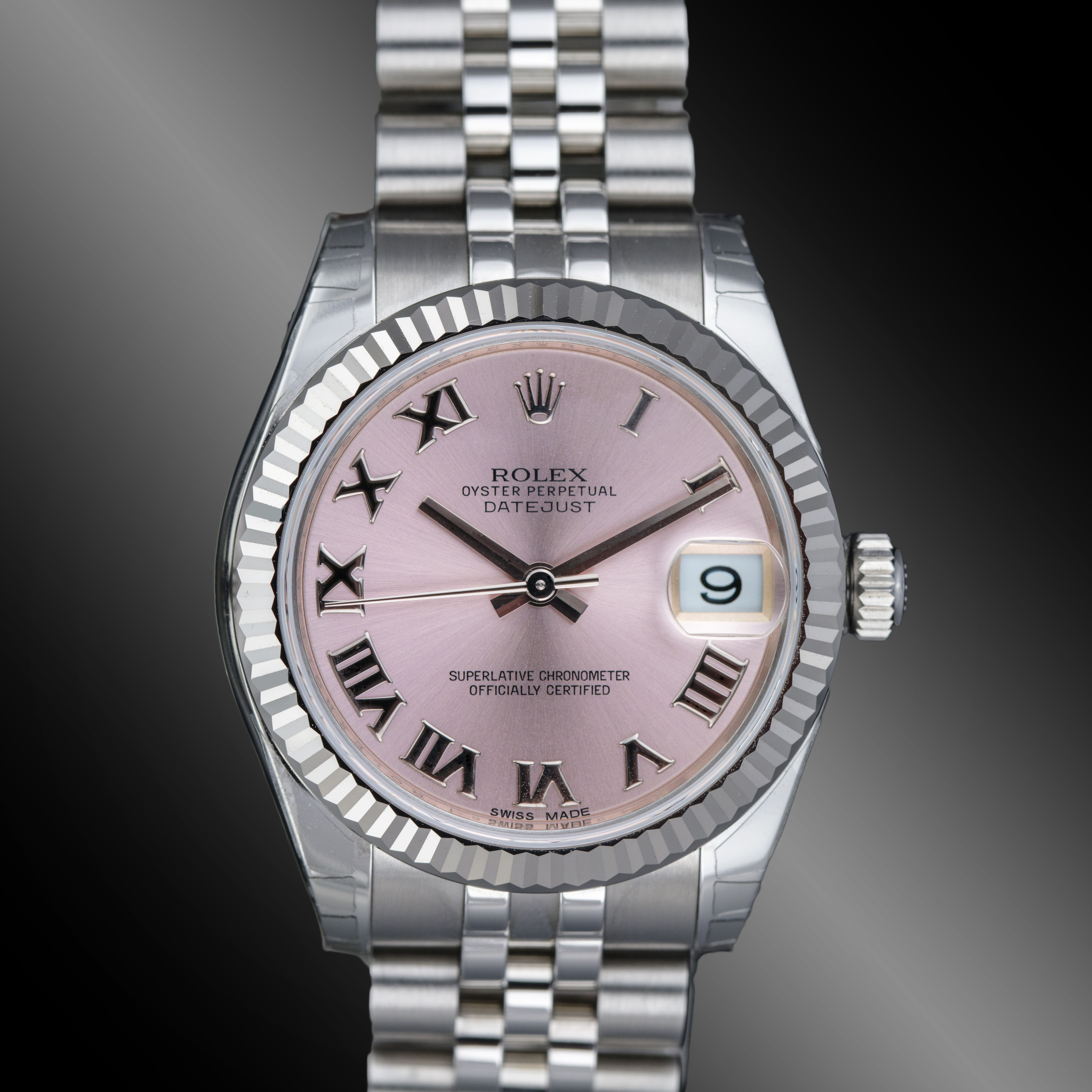 Rolex Datejust ll Fluted Pink Dial with Roman numeral Jubilee Bracelet f85437847a